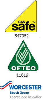 Gas Safe, Oftec and Worcester Bosch logos